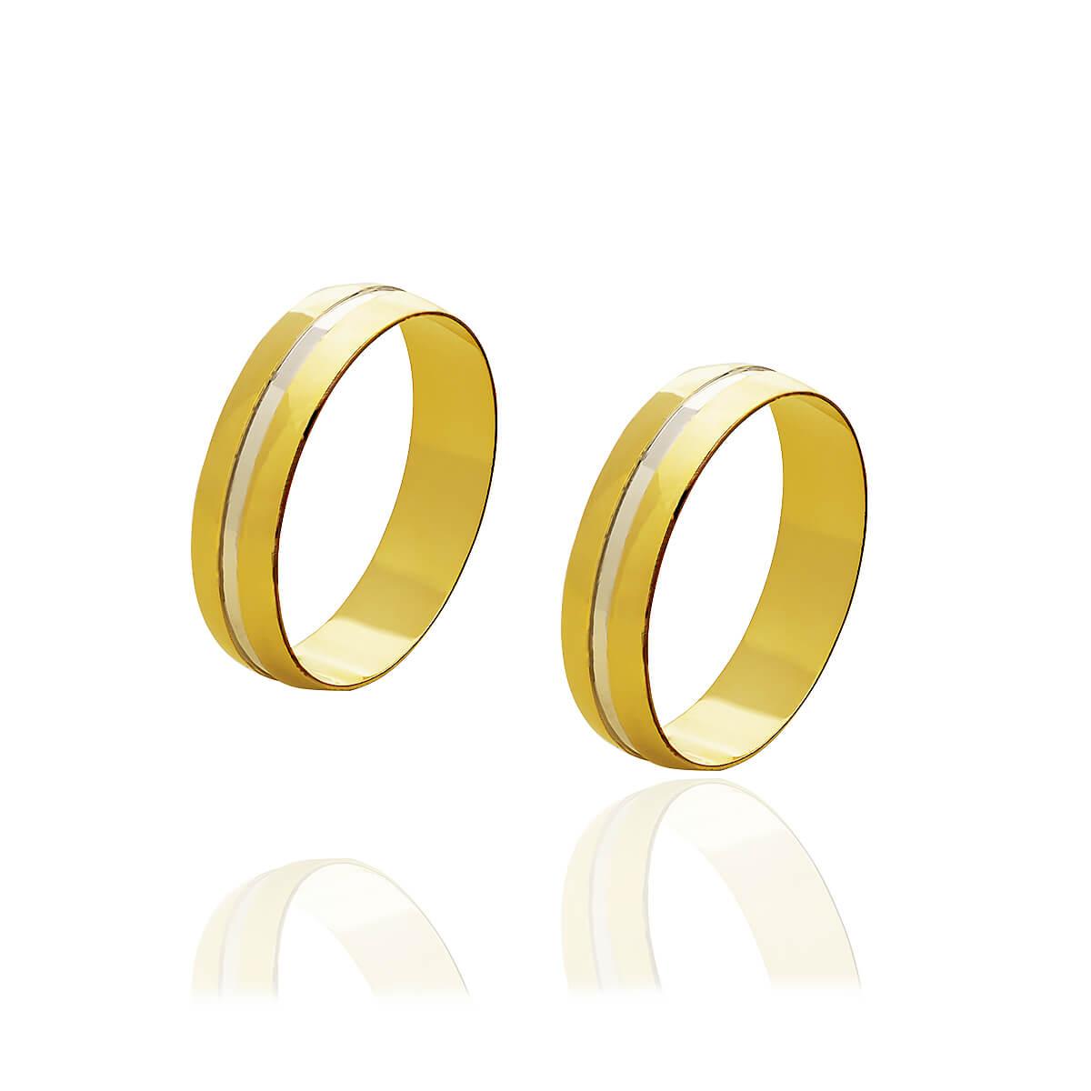 Par de Alianças de Ouro com friso em Ouro branco 5mm  e 6 g
