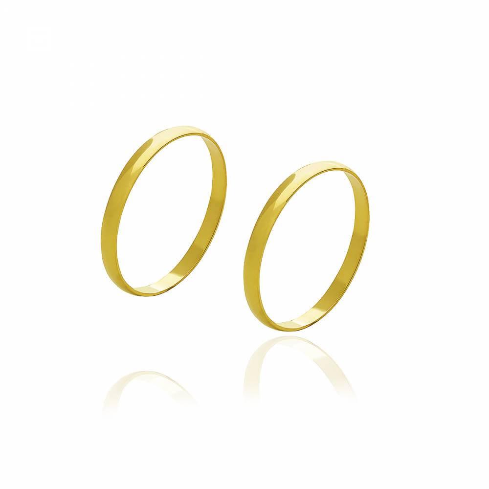 Par de alianças de ouro de 1,8 mm e 3 g