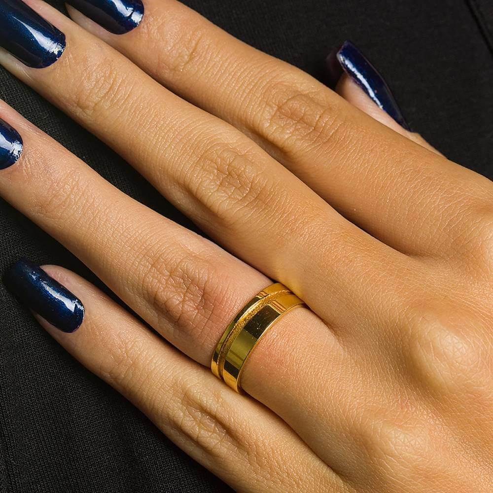 Par de Alianças de Ouro de 4 mm com friso e 6g