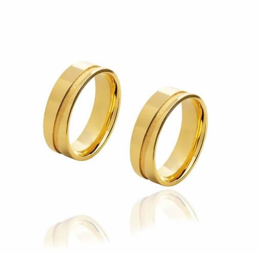 Par de alianças de Ouro de 6 mm com friso diagonal  e 7 g