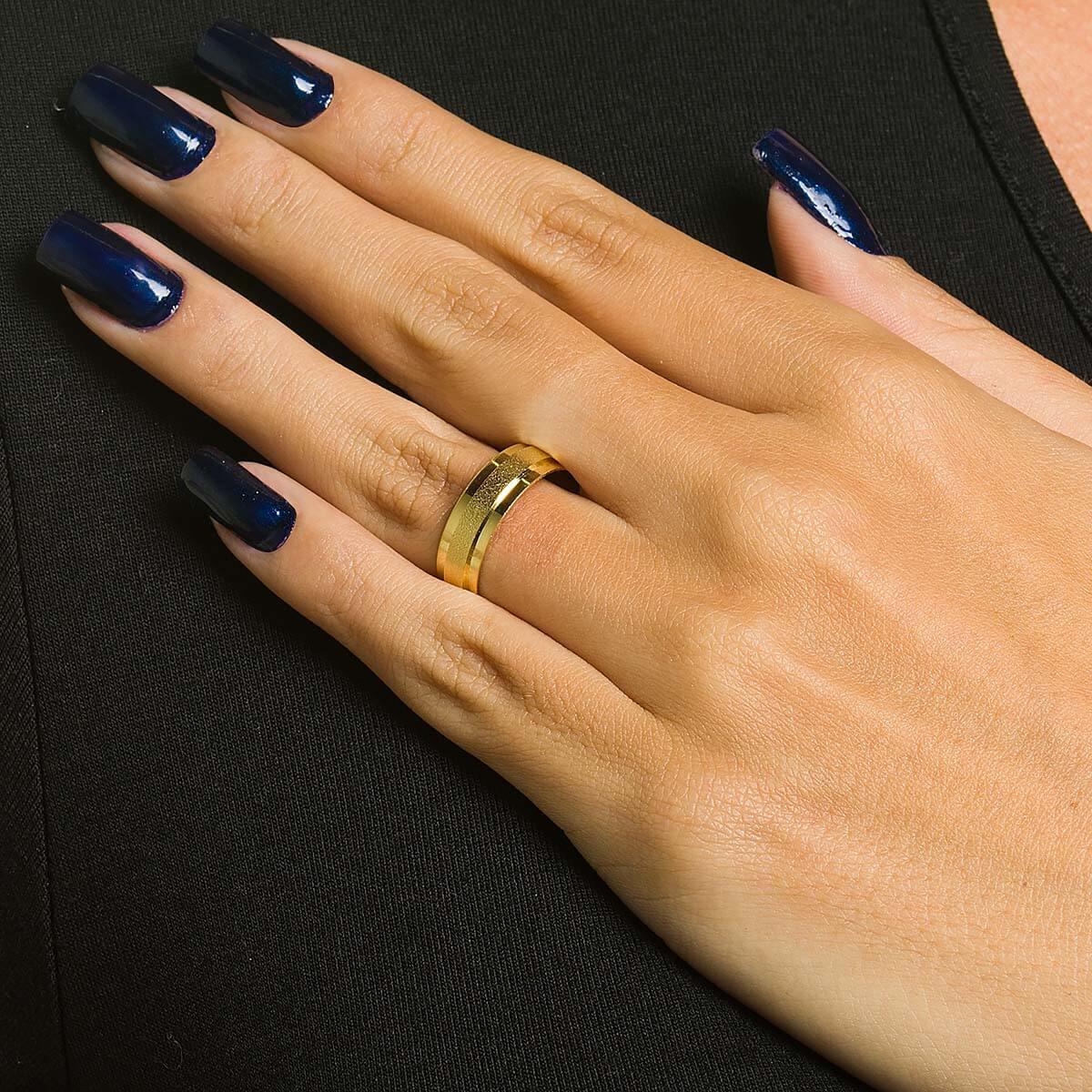 Par de alianças de Ouro de 6 mm com friso lateral e 7 g