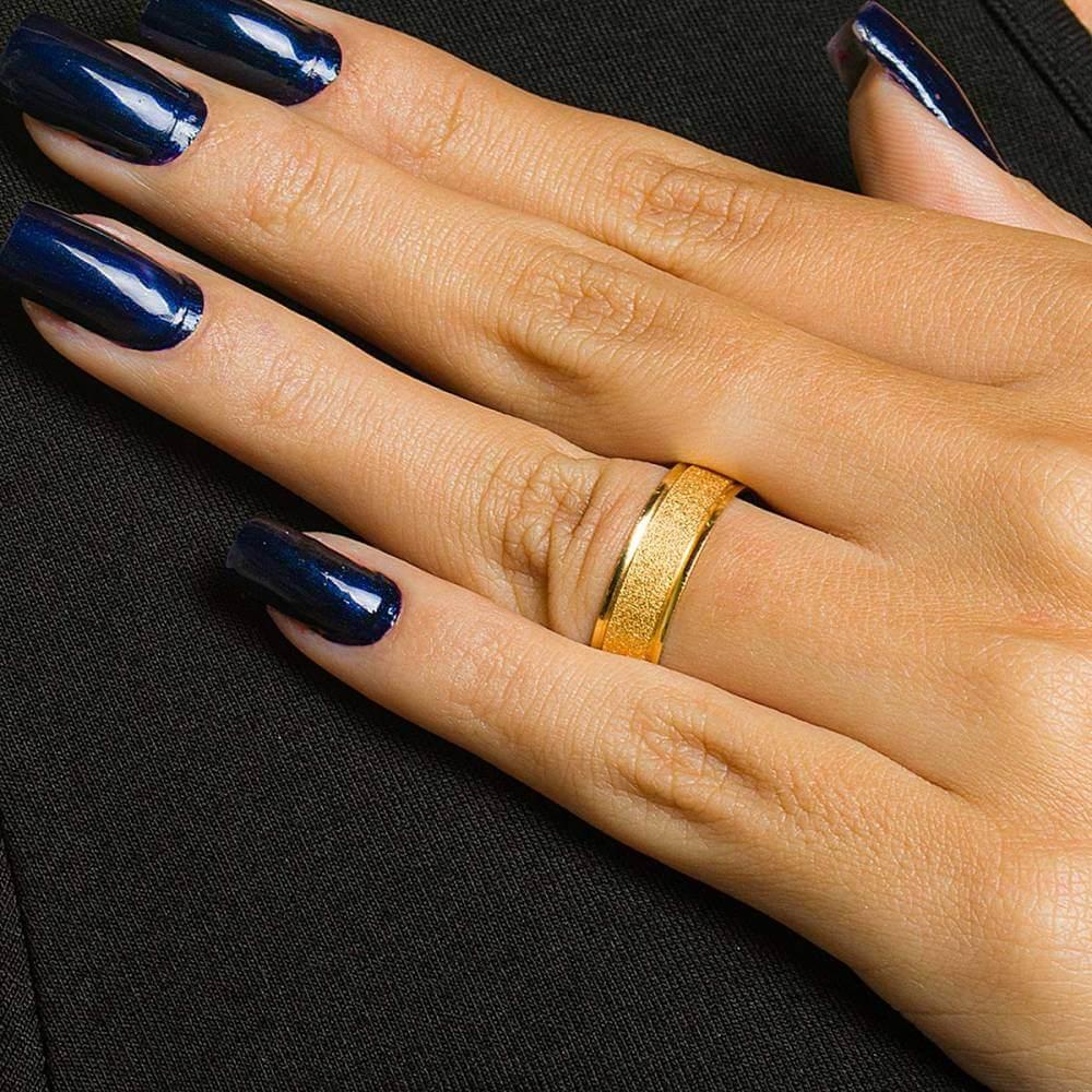 Par de alianças de Ouro de 6 mm diamantadas e 7 g