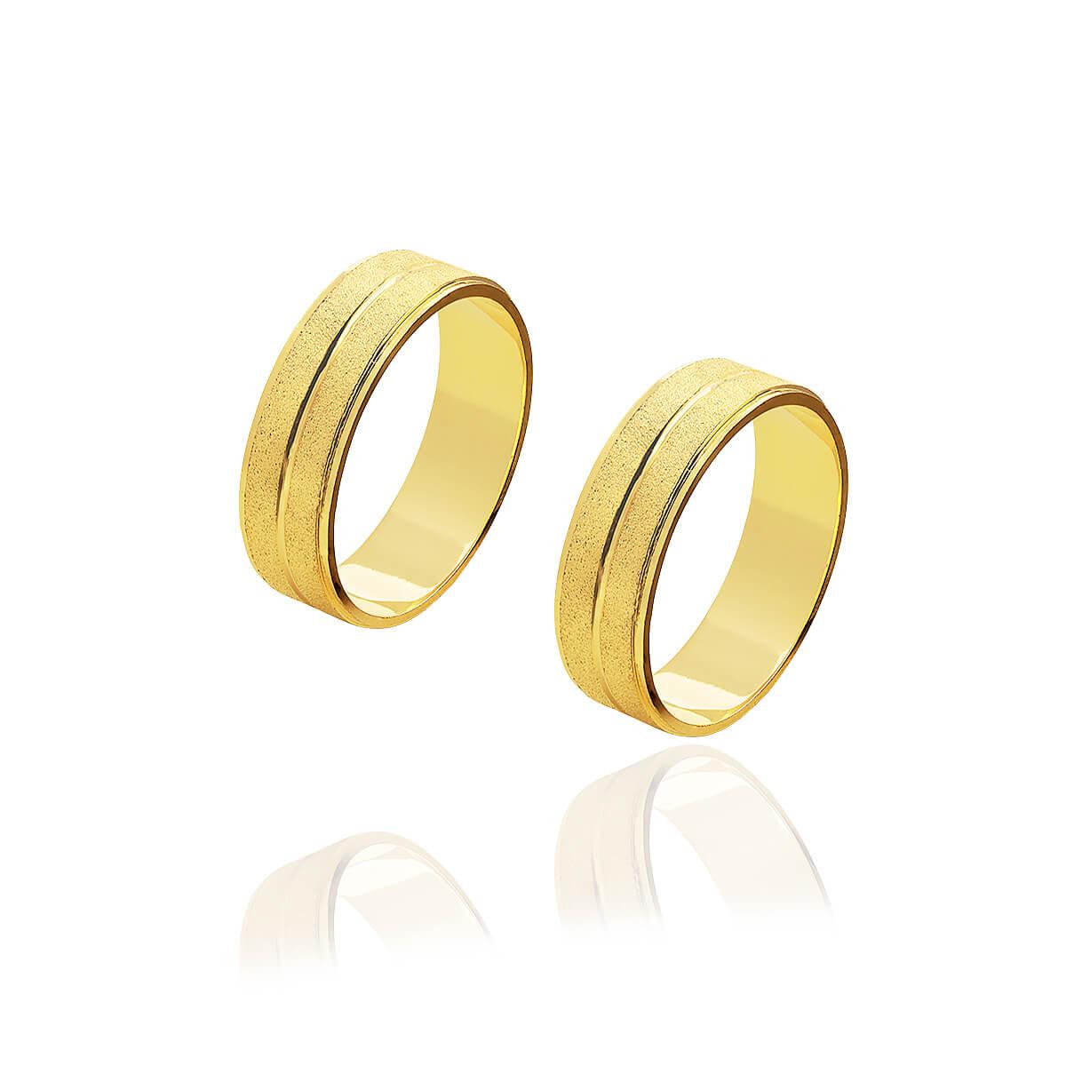Par de Alianças de Ouro Diamantadas com friso central de 6 mm 6g