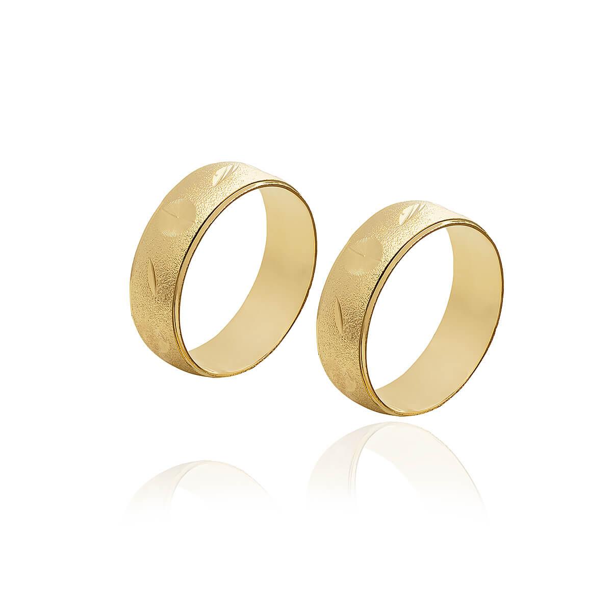 Par de Alianças de Ouro Diamantadas de 6 mm e 10g