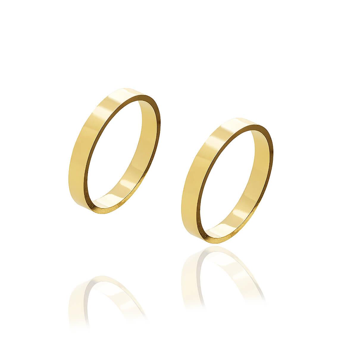 Par de alianças de Ouro retas com 3 mm de largura e 4g