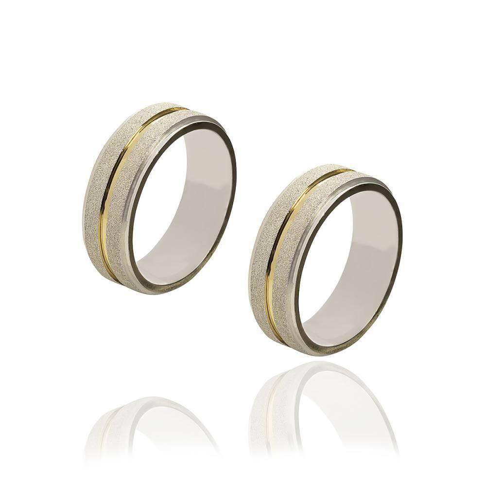 Par de alianças de Prata diamantada com fio de Ouro e 11 g