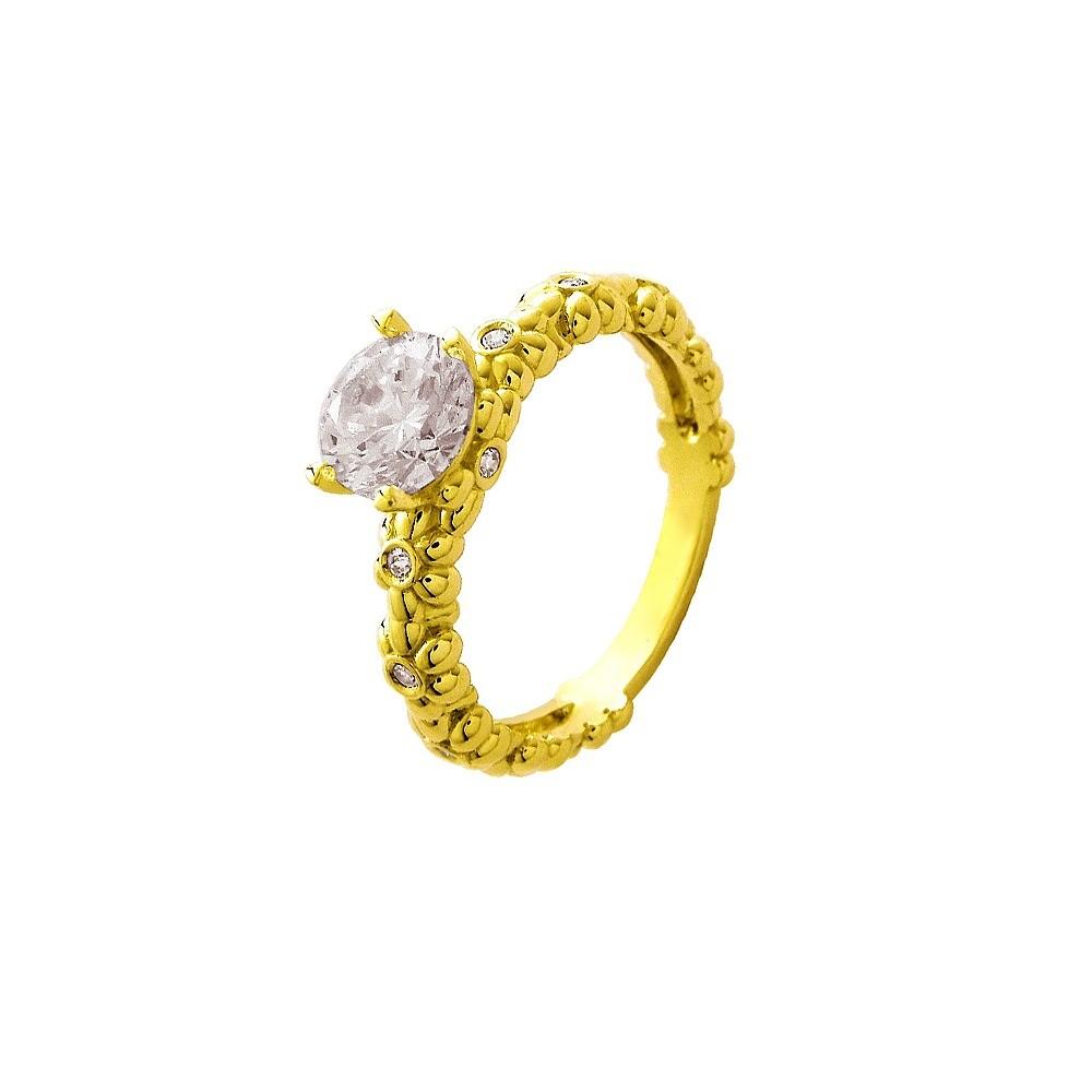 Solitário Star em Ouro 18K com uma pedra zirconia