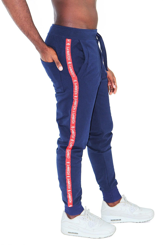 Calça de Moletom Masculina Azul Marinho Fita Lateral