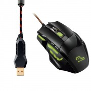 MOUSE OPTICO COM LED VERDE GAMER 2400 DPI USB