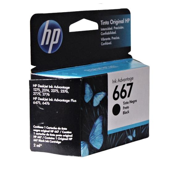 Cartucho de Tinta HP 667 Preto120  Paginas 3YM79AB
