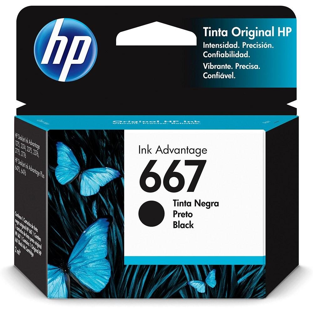 Cartucho de Tinta HP 667 Preto120  Paginas 3YM79AL