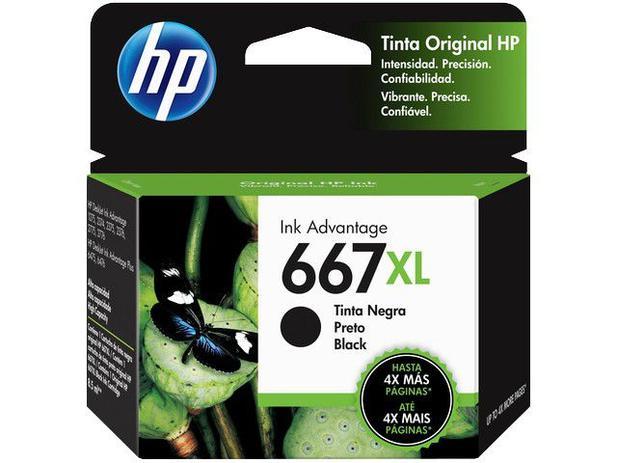 Cartucho de Tinta HP 667 XL Preto 480  Paginas 3YM