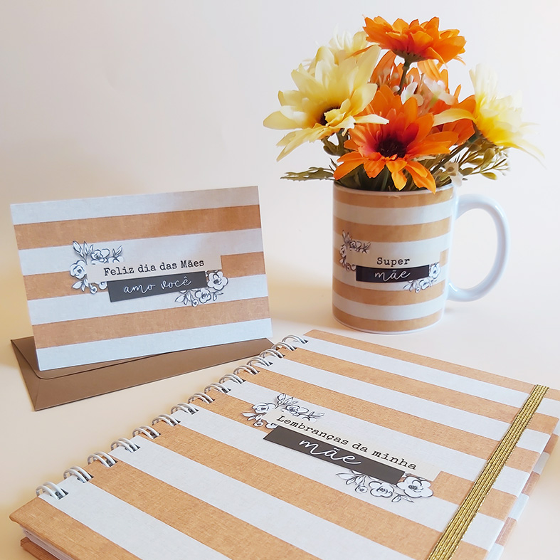 Kit Dia das Mães - Caderno de Lembranças, Caneca e Cartão