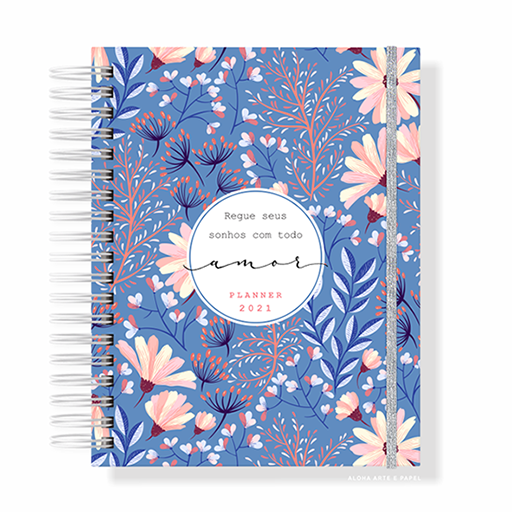 Planner Anual Permanente Floral Azul