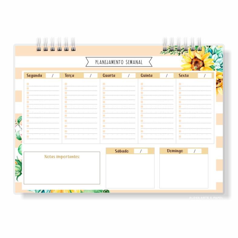Planner Semanal Girassol - Pronta Entrega