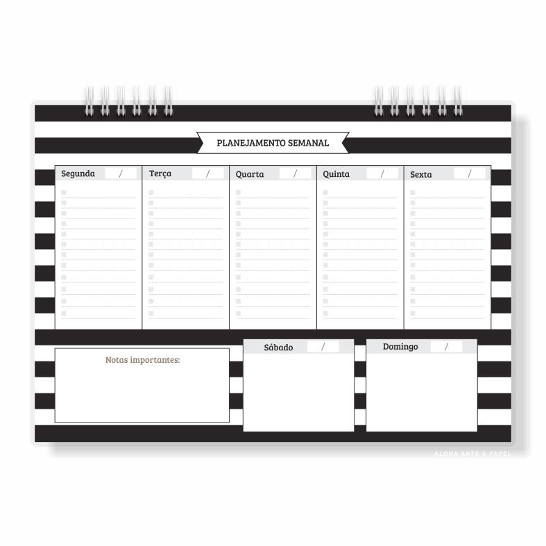 Planner Semanal Listrado PB - Pronta Entrega