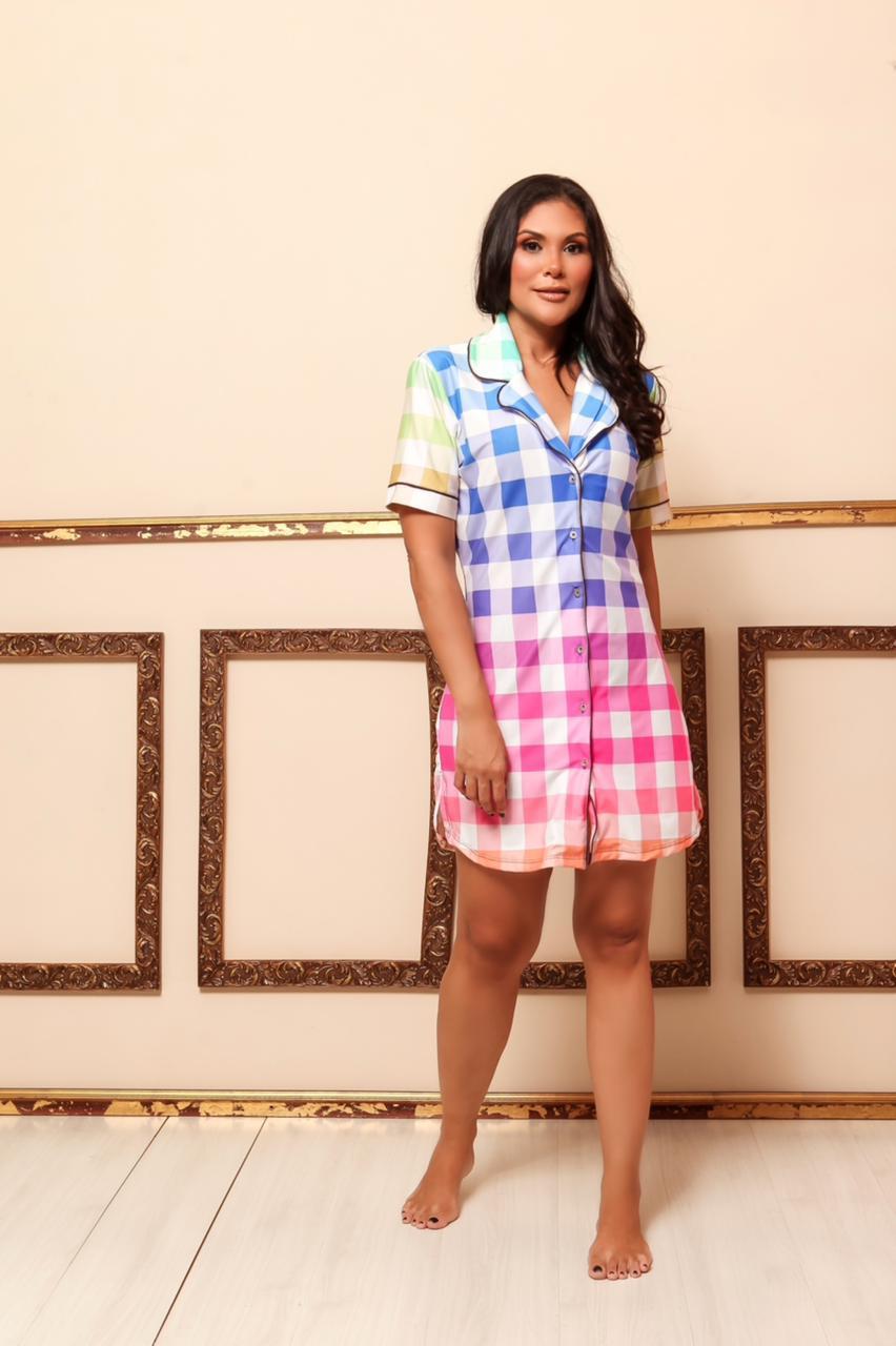 Camisola Homewear Xadrez Feminino