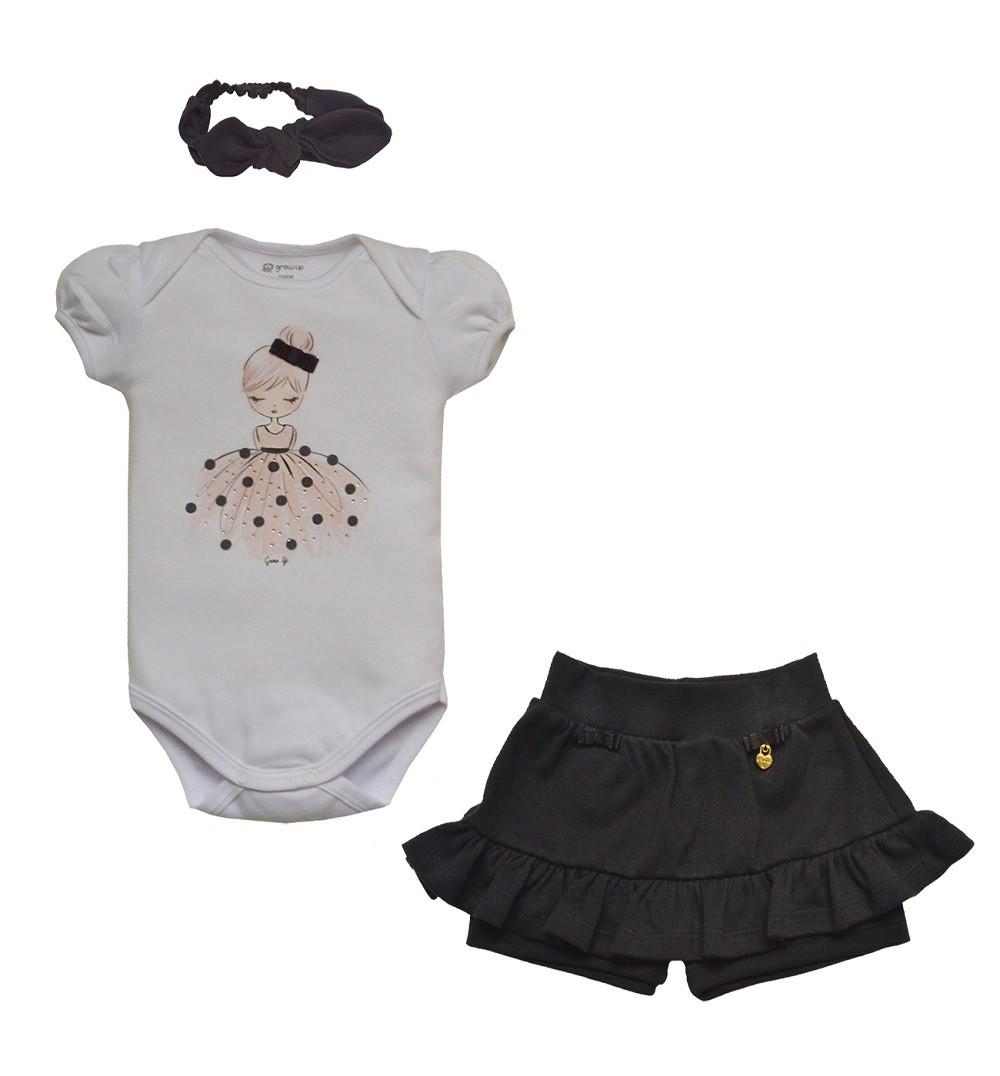 Conjunto Body e Shorts com Faixa  em Algodão Capri