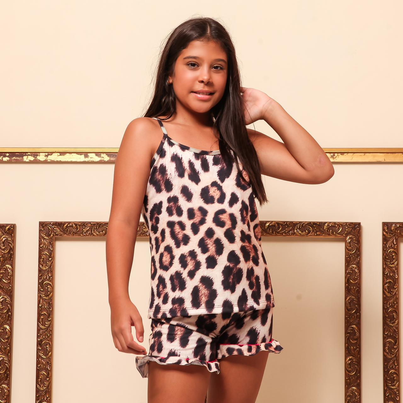 Pijama Baby Doll Homewear Animal Print Infantil