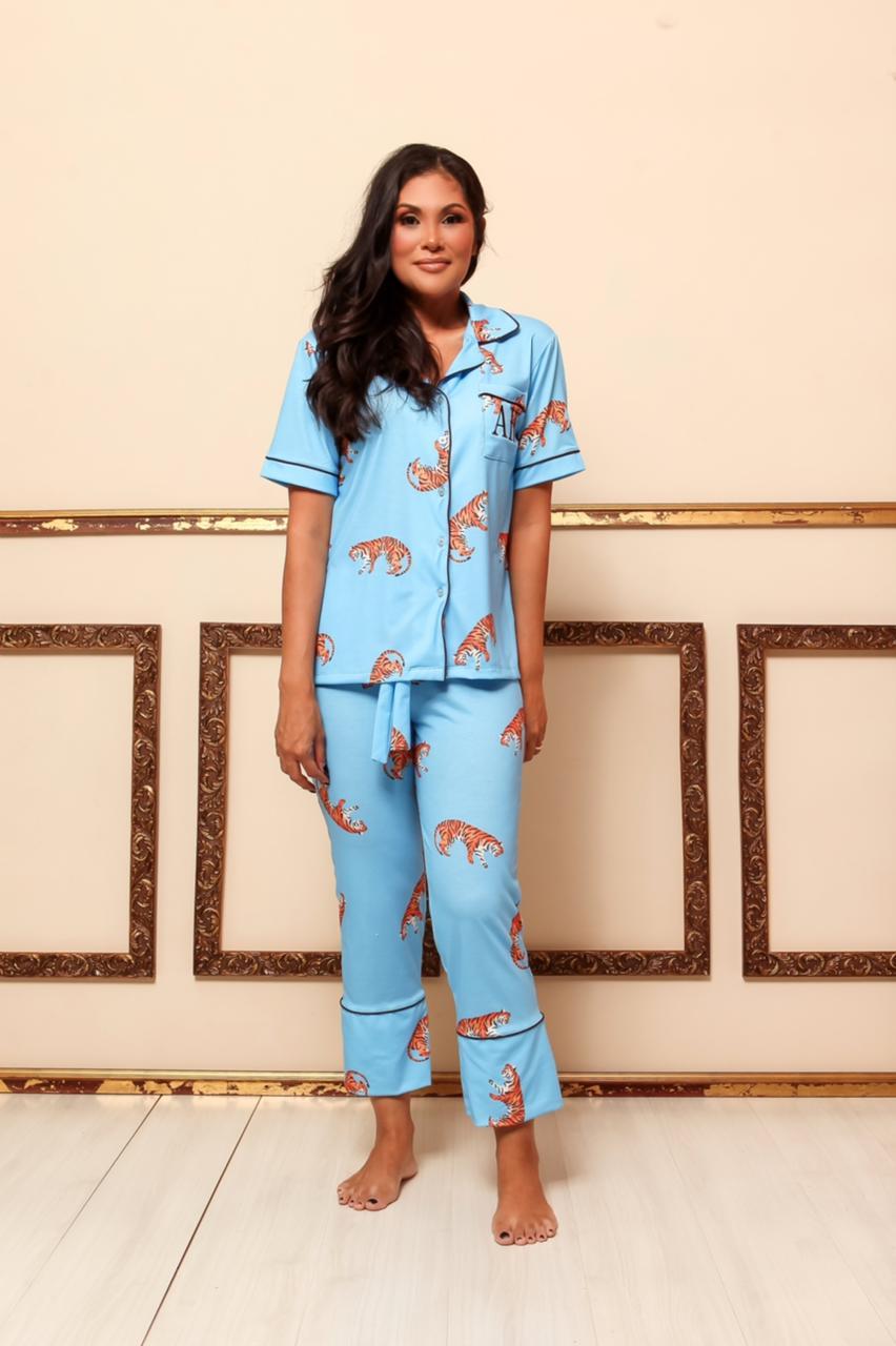 Pijama Homewear Turquesa Feminino
