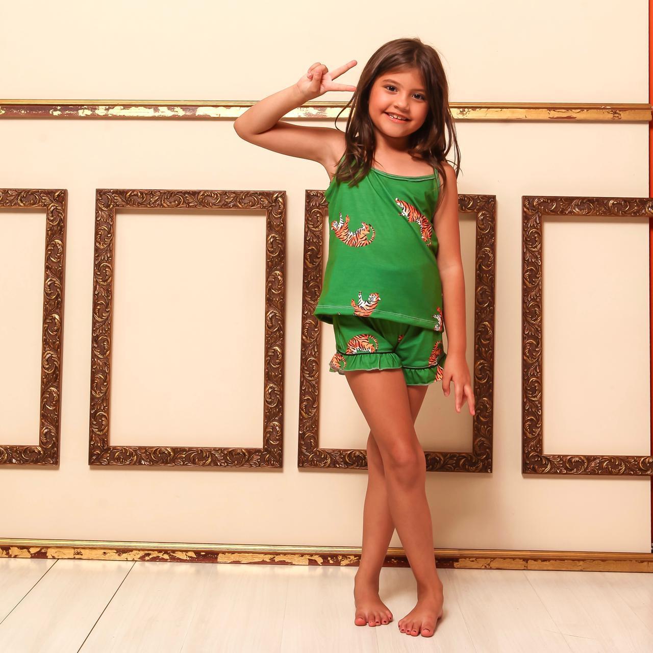 Pijama Baby Doll Homewear Verde Estampado Infantil