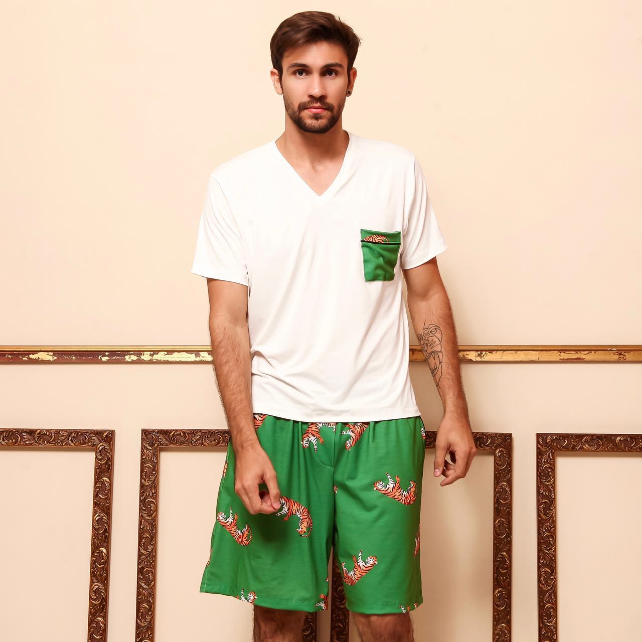 Pijama Homewear Verde Estampado Masculino