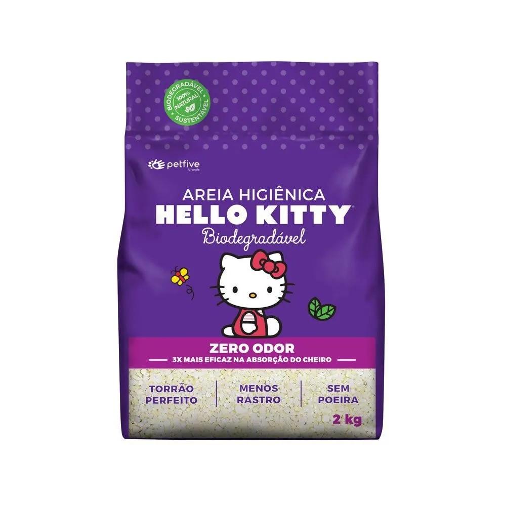Areia Sanitária Hello Kitty Roxa Biodegradavel Grossa
