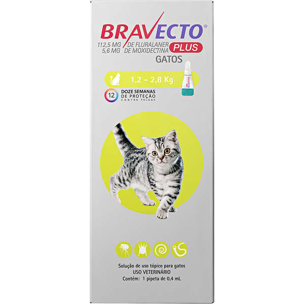 Bravecto Transdermal Plus para Gatos de 1,2 a 2,8 Kg