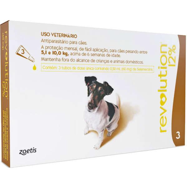 Combo Revolution 12% cães (5,1Kg a 10Kg) 3x0,50ml