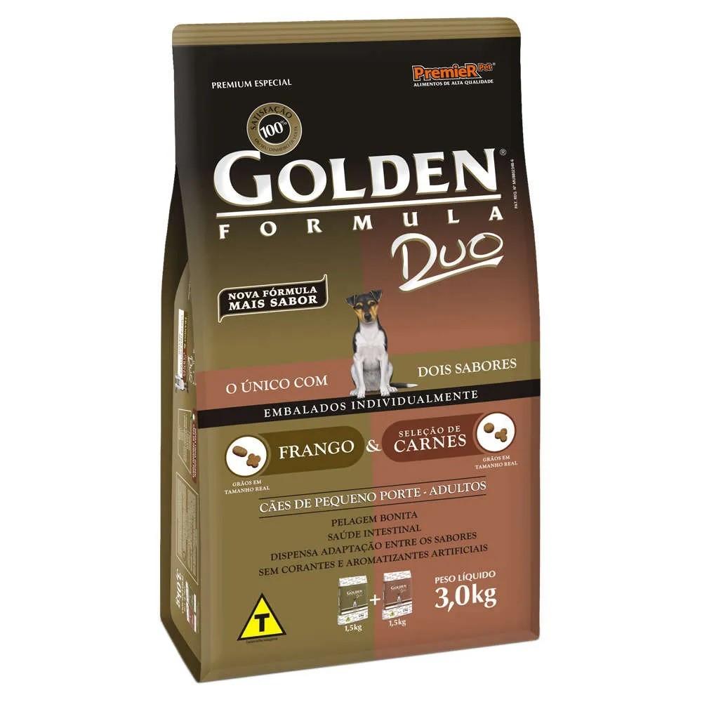 Golden Duo Pequeno Porte Adulto Carne ao Molho e Galinha Caipira
