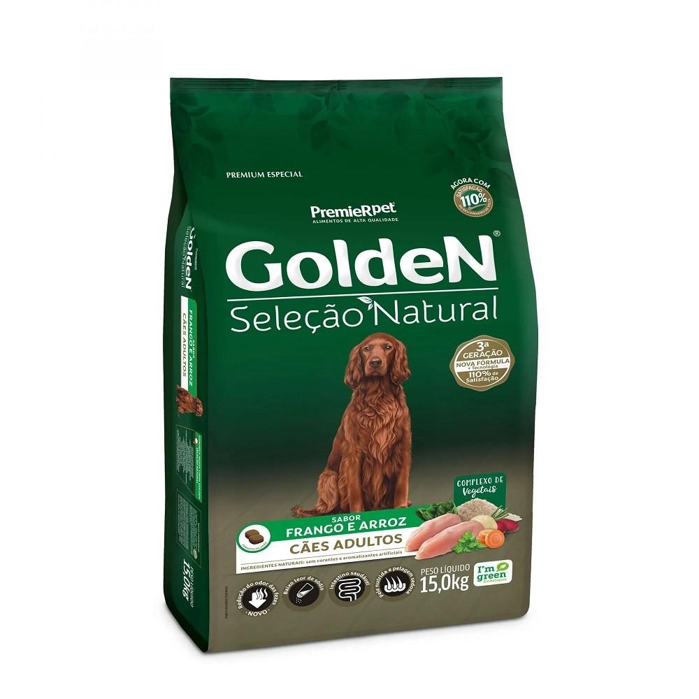 Golden Seleção Natural Cão Adulto Raças Médias e Grandes Frango e Arroz