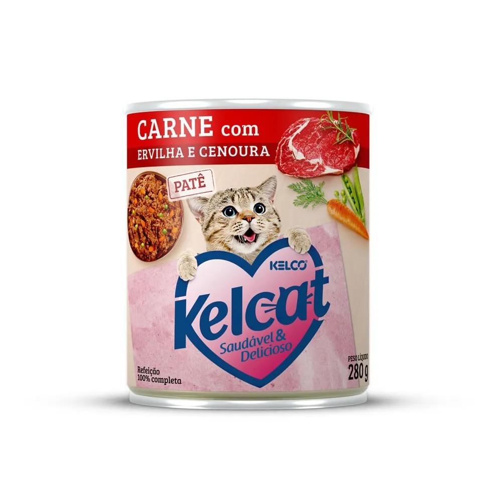 Kelcat Lata Patê Carne com Ervilha e Cenoura