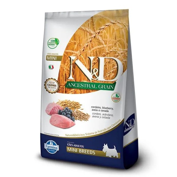 N&D Ancestral Cães Adultos Raças Mini Cordeiro e Blueberry