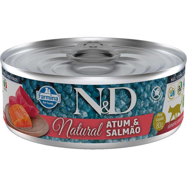 N&D Lata Gato Natural Atum com Salmão
