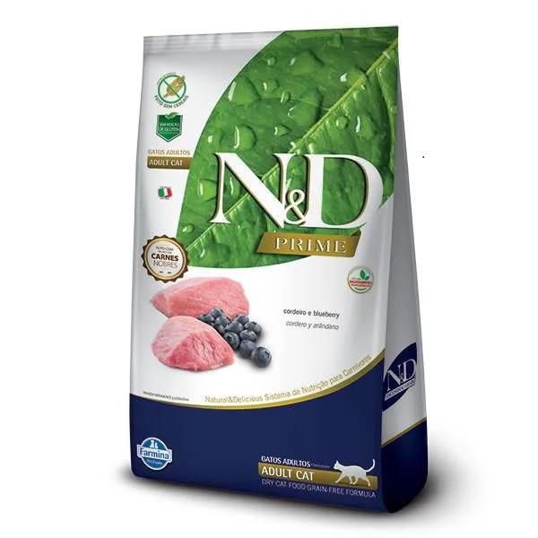 N&D Prime Gatos Adultos Cordeiro e Blueberry