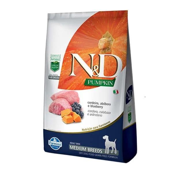 N&D Pumpkin Cães Adultos Raças Médias Abóbora com Cordeiro e Blueberry