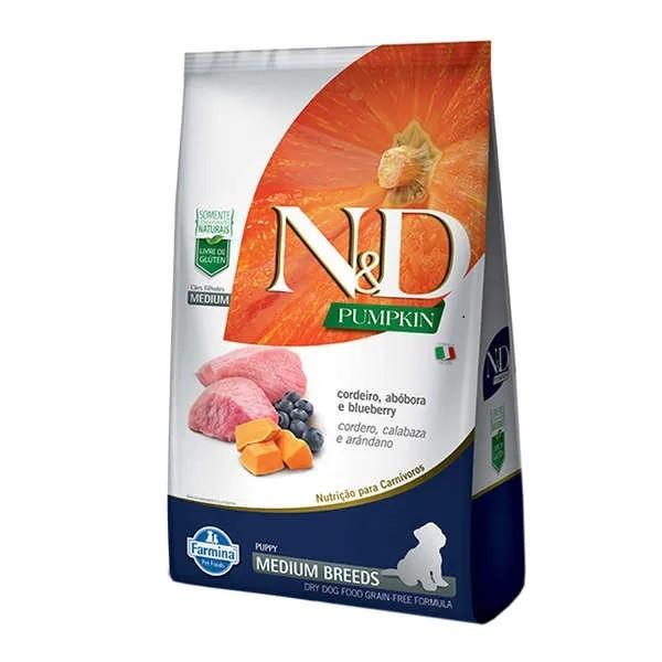 N&D Pumpkin Cães Filhotes Raças Médias Abóbora com Cordeiro e Blueberry