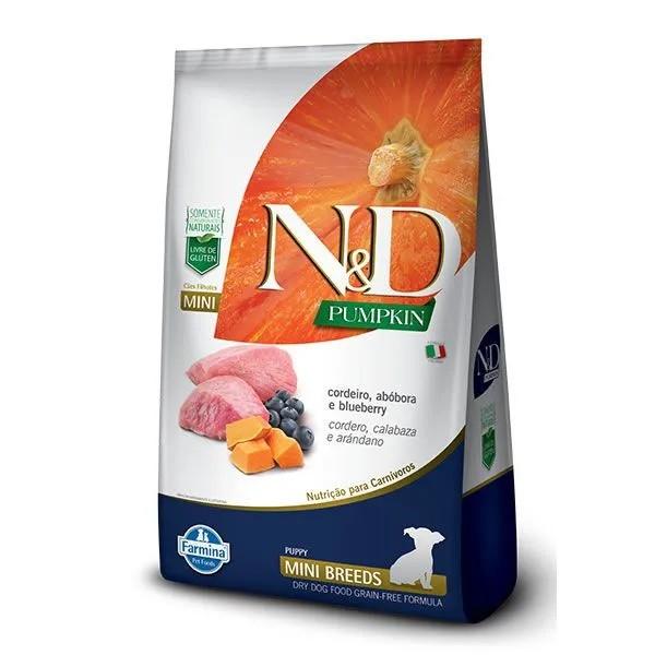 N&D Pumpkin Cães Filhotes Raças Pequenas Abóbora com Cordeiro e Blueberry