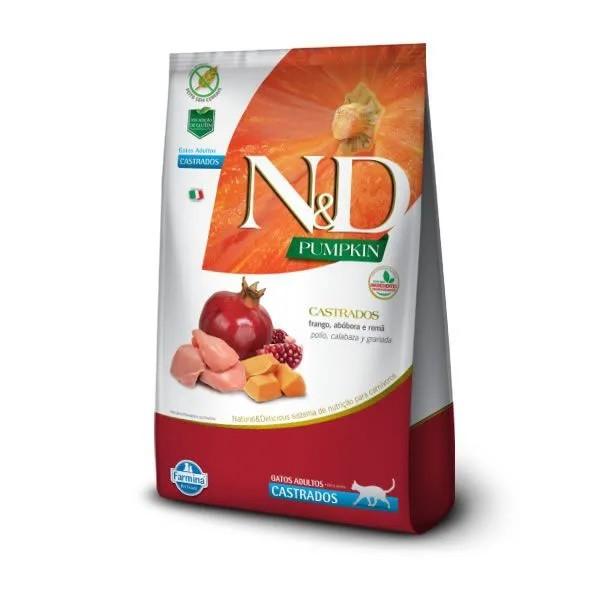 N&D Pumpkin Gatos Adultos Castrados Frango e Romã