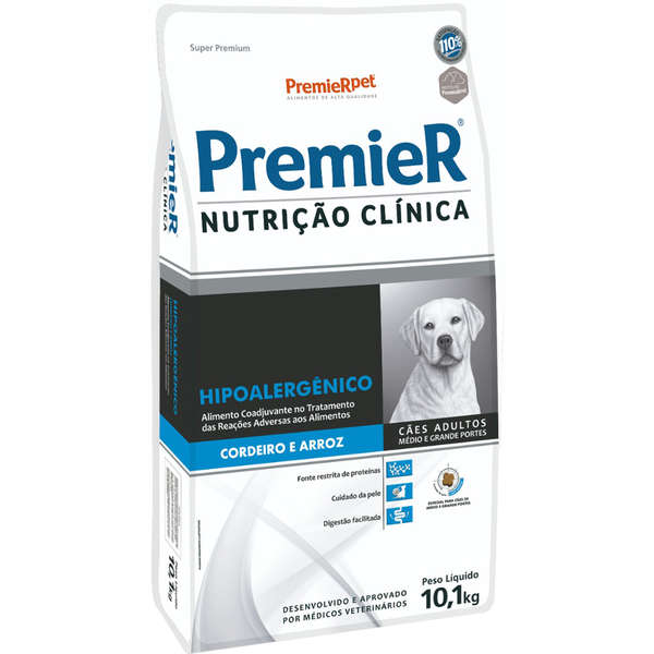 Premier Nutrição Clínica Canine Hipoalergênico Cordeiro Porte Médio e Grande