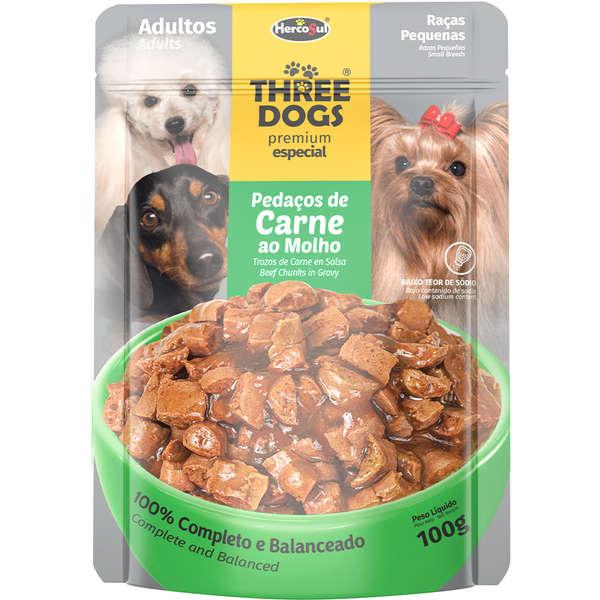 Three Dogs Sachê Adulto Raças Pequenas Carne
