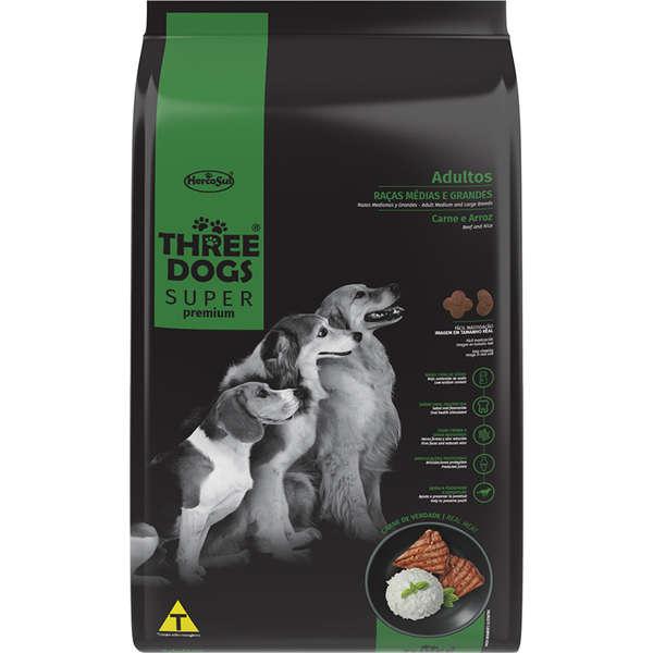 Three Dogs Super Premium Adulto Raça Média e Grande Carne