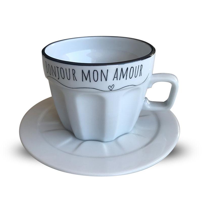 Xícara Bonjour com pequenos defeitos