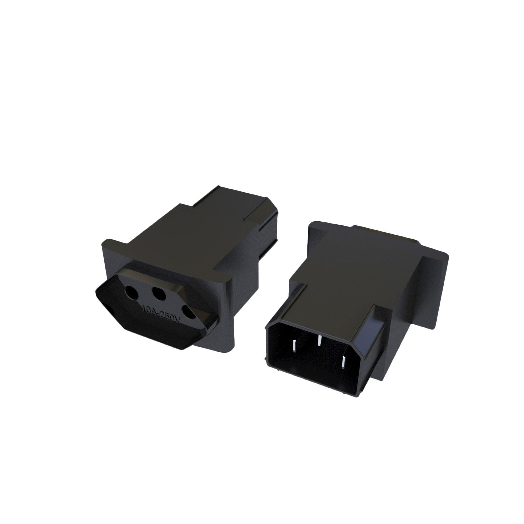Adaptador IEC320 C14 para NBR14136 - 10A - 120/250V 2P+T
