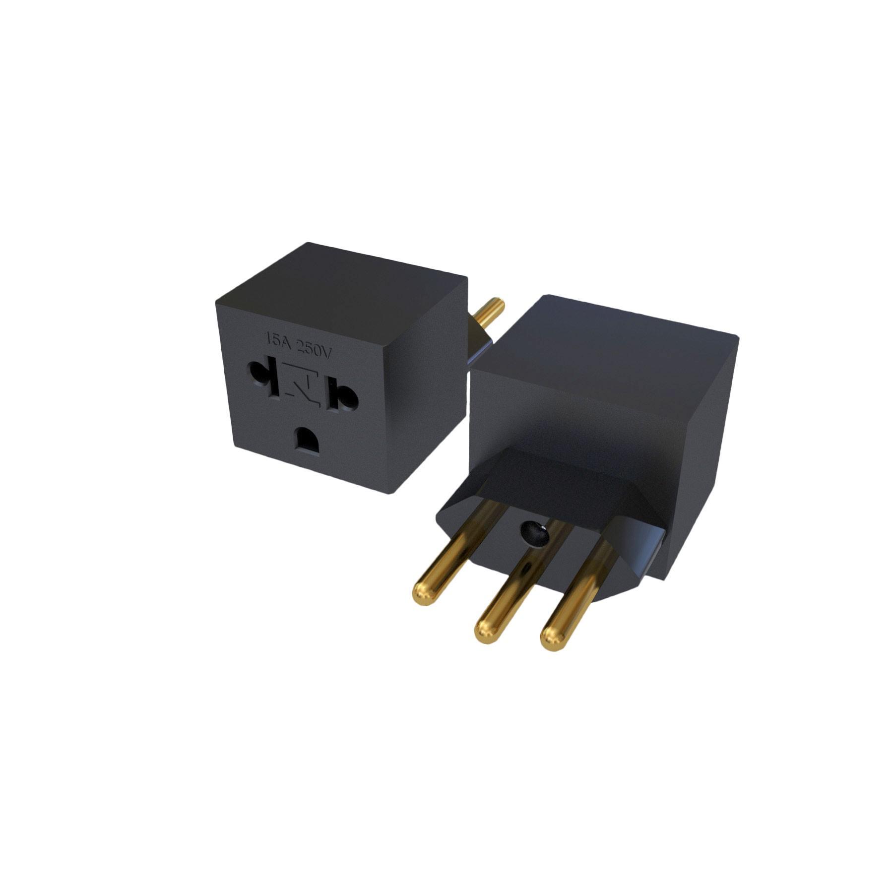 Adaptador NBR14136 - 10A para Nema 5-15R - 15A - 120/250V 2P+T