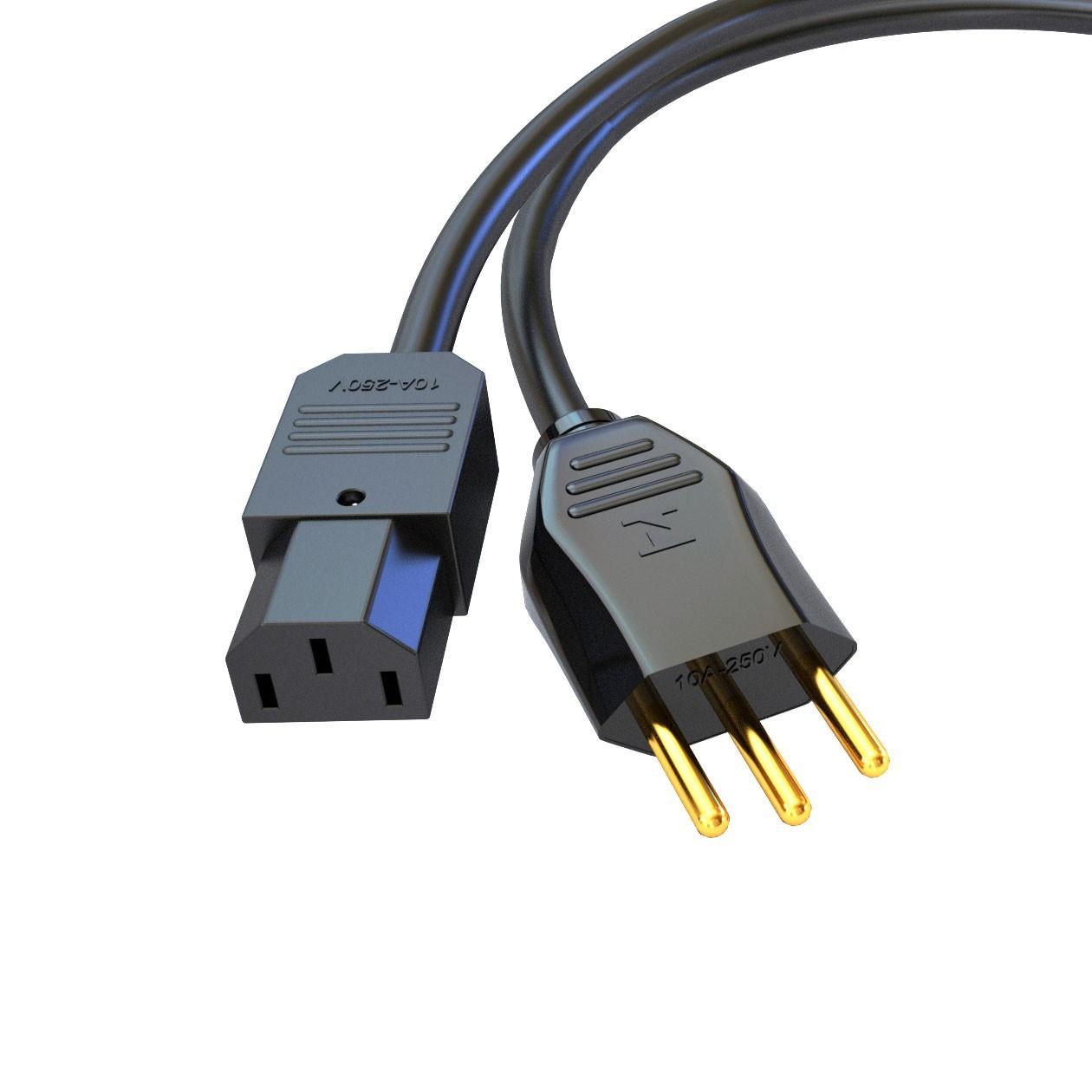 Cabo - Plugue macho NBR14136 20A e Plugue fêmea IEC 320 C13 10A - 250V
