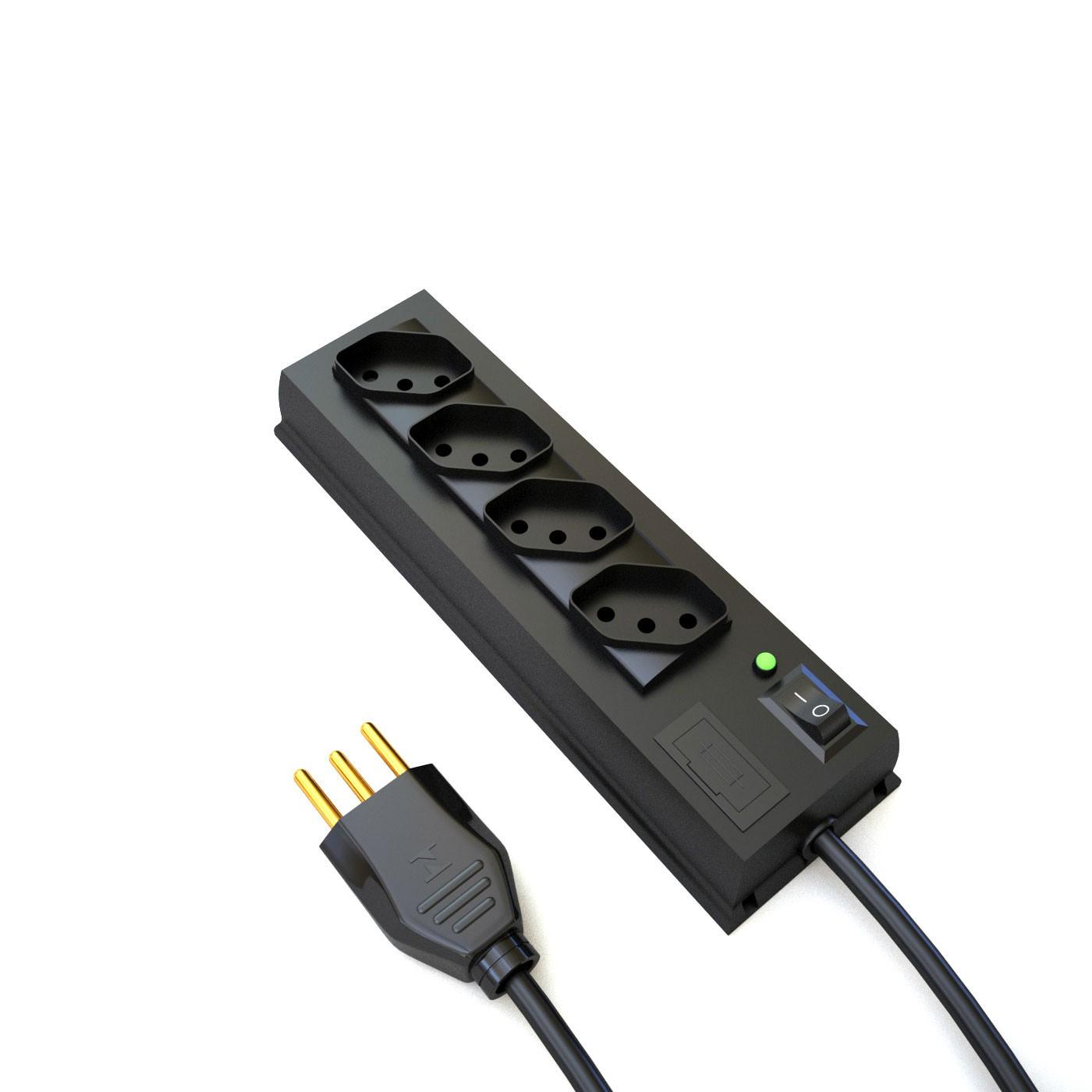 Filtro de Linha 4 tomadas padrão NBR14136 em 45 graus - 10A - 100/240V 2P+T