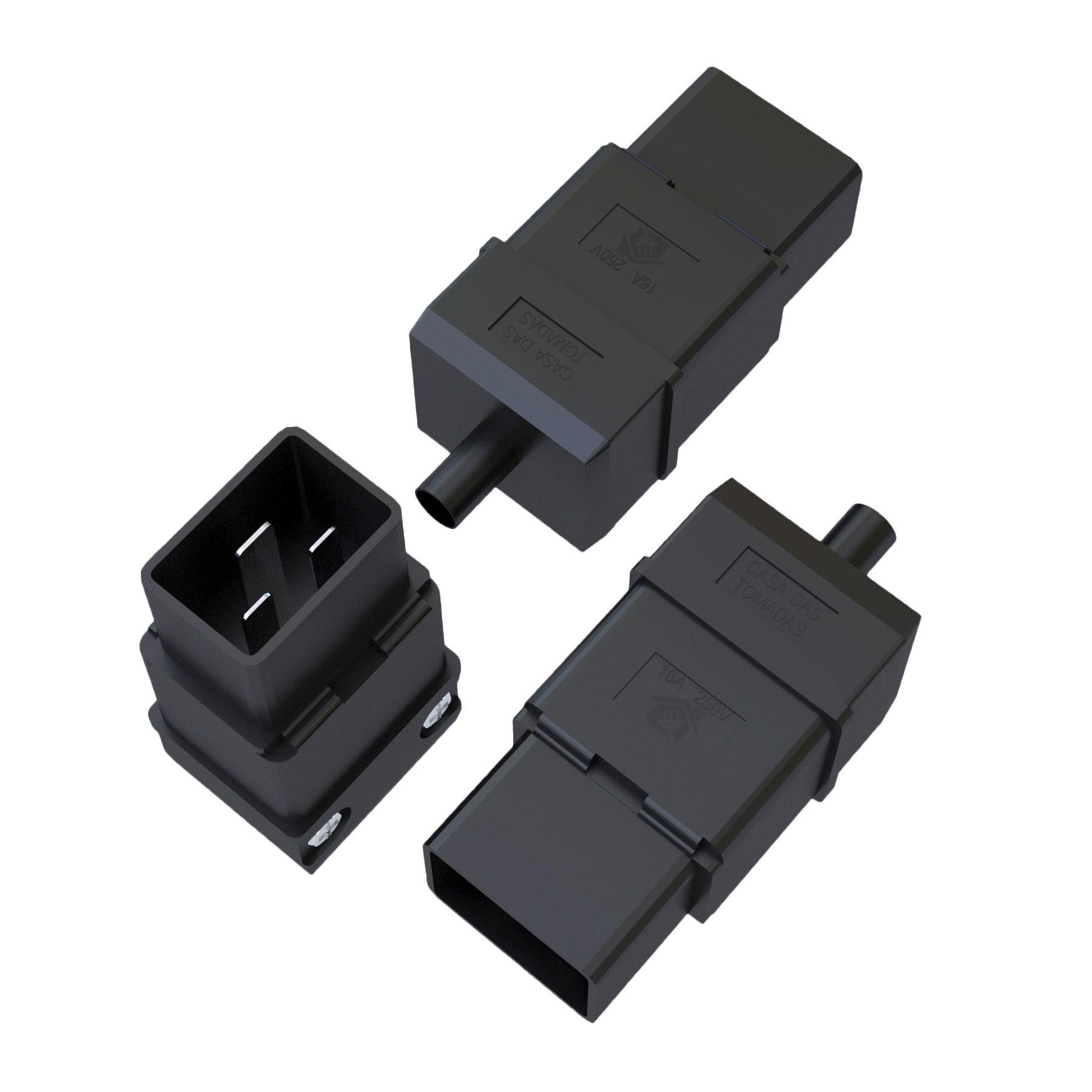 Plugue Macho IEC320 C20 - 16A - 250V 2P+T