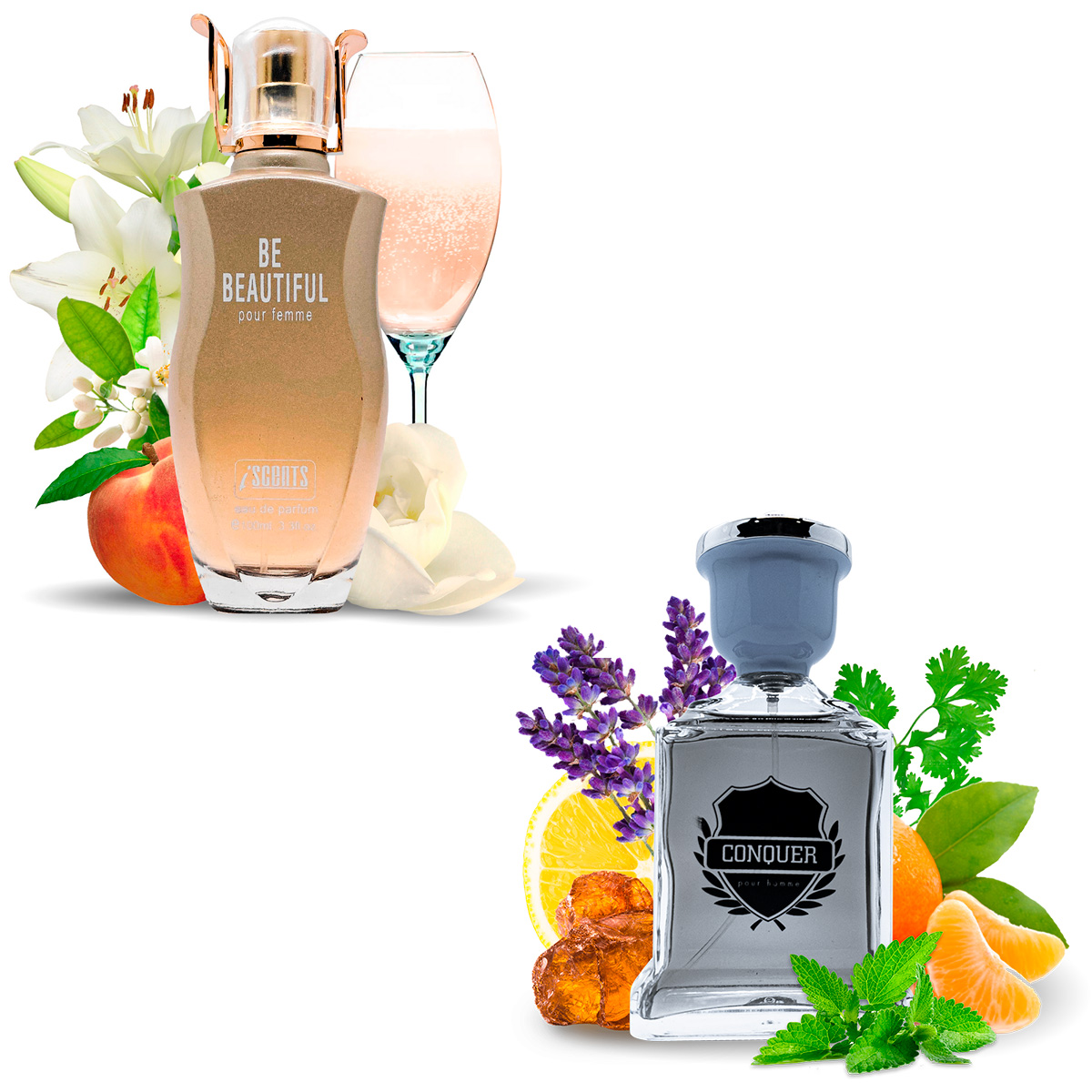 Kit 2 Perfumes Importados Be Beautiful e Conquer I Scents
