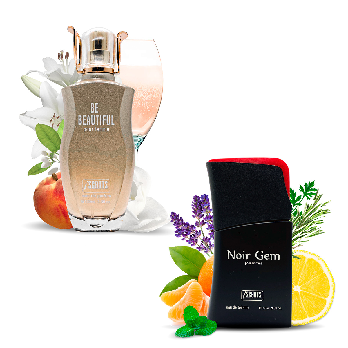 Kit 2 Perfumes Importados Be Beautiful e Noir Gem I Scents
